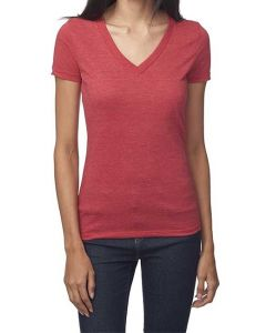 Ladies 50/50 Blend V-Neck Tee - Made in USA