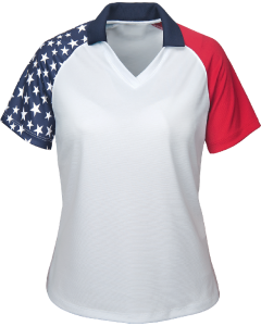 ALL USA Clothing Ladies American Flag Polo