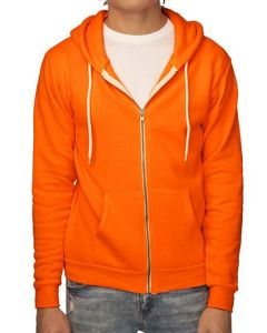Unisex Fashion Fleece Neon Zip Hoody