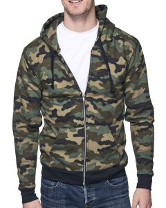 Unisex Camo Fleece Full Zip Hoody