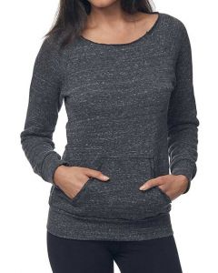 Ladies eco Triblend Fleece Raglan w/Pouch Pocket - Made in USA
