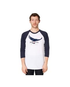 ALL USA Clothing Eagle Printed 3/4 Sleeve Raglan Shirt - Made in USA