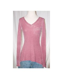 V-neck Long Sleeve Tunic Top - Made in USA