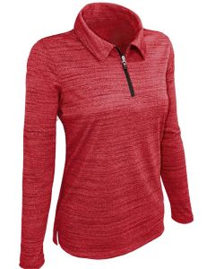 Ladies Tiger Stripe Long Sleeve Quarter Zip Polo