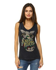 V-neck Angel Riders Mineral Washed Tank