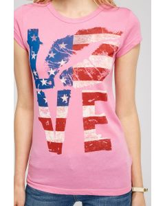 Crew neck LOVE American Flag